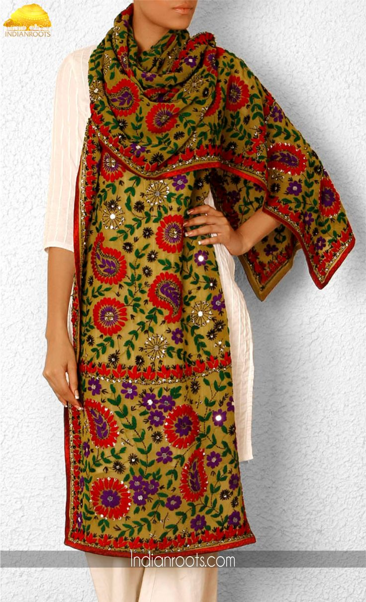 Green georgette hand crafted stole with multicoloured Phulkari embroidery by  Phulkari on Indianroots.com