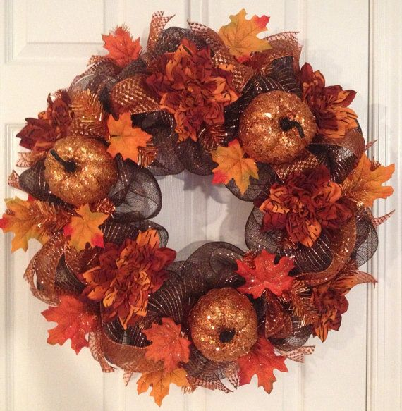 Glitter Pumpkin and Dahila deco mesh wreath  on Etsy, $52.00