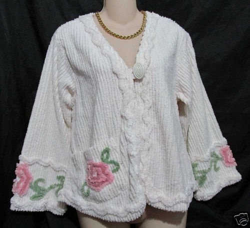 STAN HERMAN Chenille Bed Jacket Robe  Ivory Floral