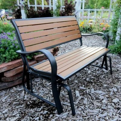 Lifetime Wood Alternative Patio Glider Bench-60055 at The Home Depot
