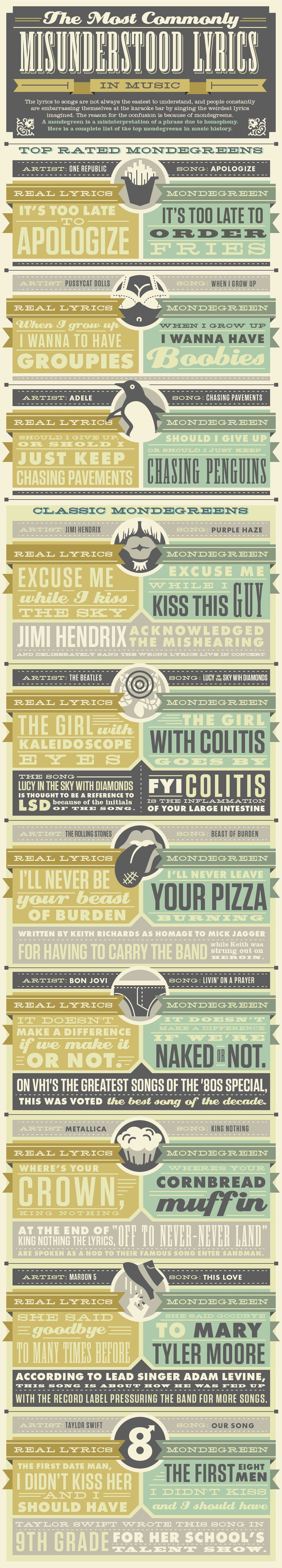 funny content and brilliant design: DirectLyrics Infographic: The Most Commonly Misunderstood Lyrics in Music - Column Five Media