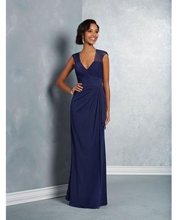Robe de soiree mousseline glamour col en v