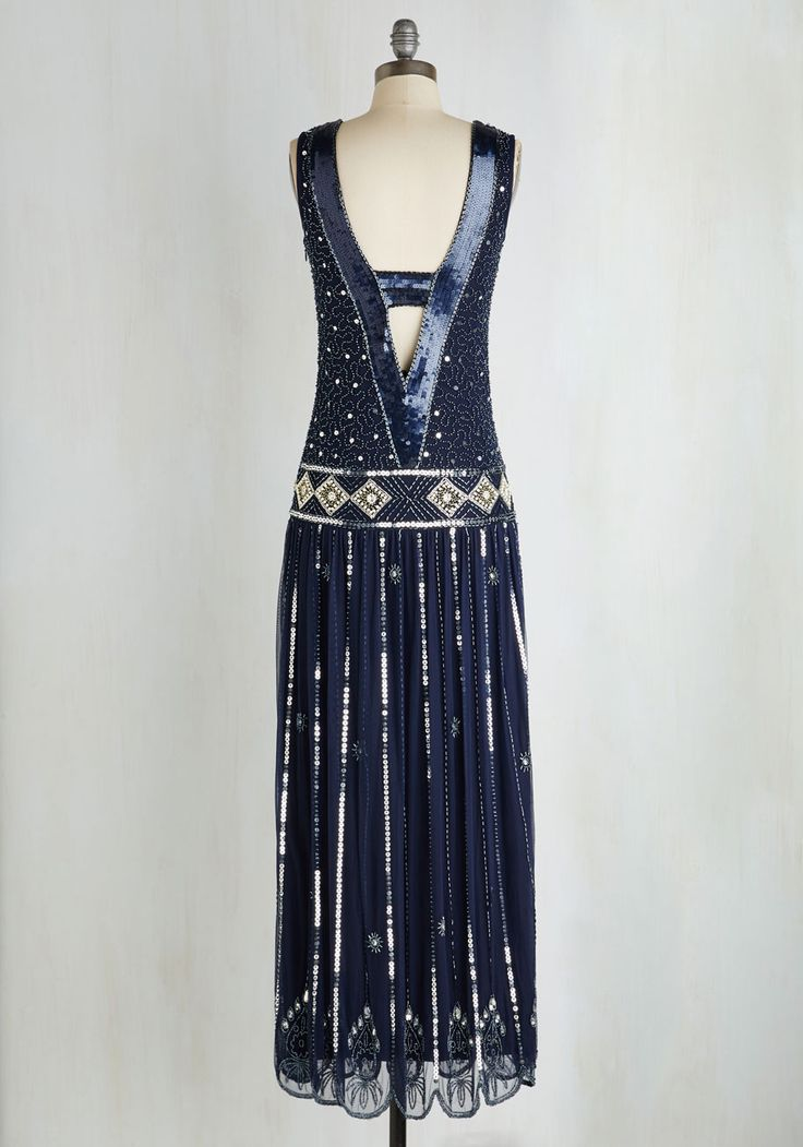 Winsome Wonderment Dress. The ball will become absolutely abuzz when you elegantly enter the fete in this gleaming gown! #blue #modcloth