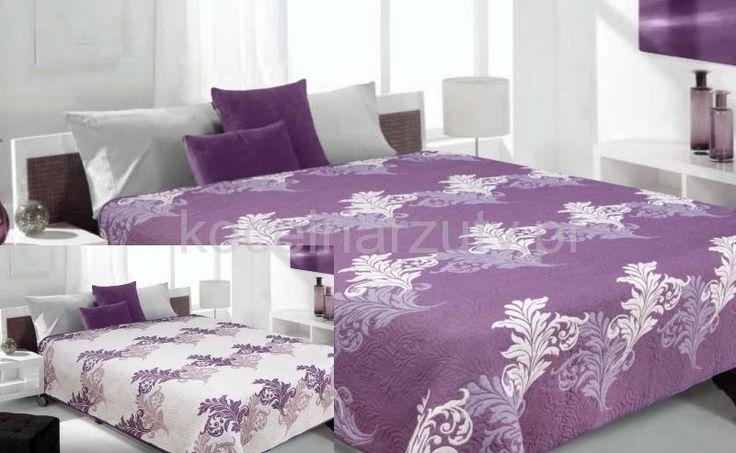 Narzuty i kapy dwustronne w kolorze fioletowym z kremowym wzorem