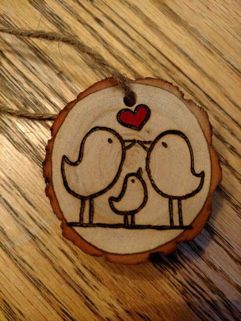 Rustic love birds wood burned Christmas ornament