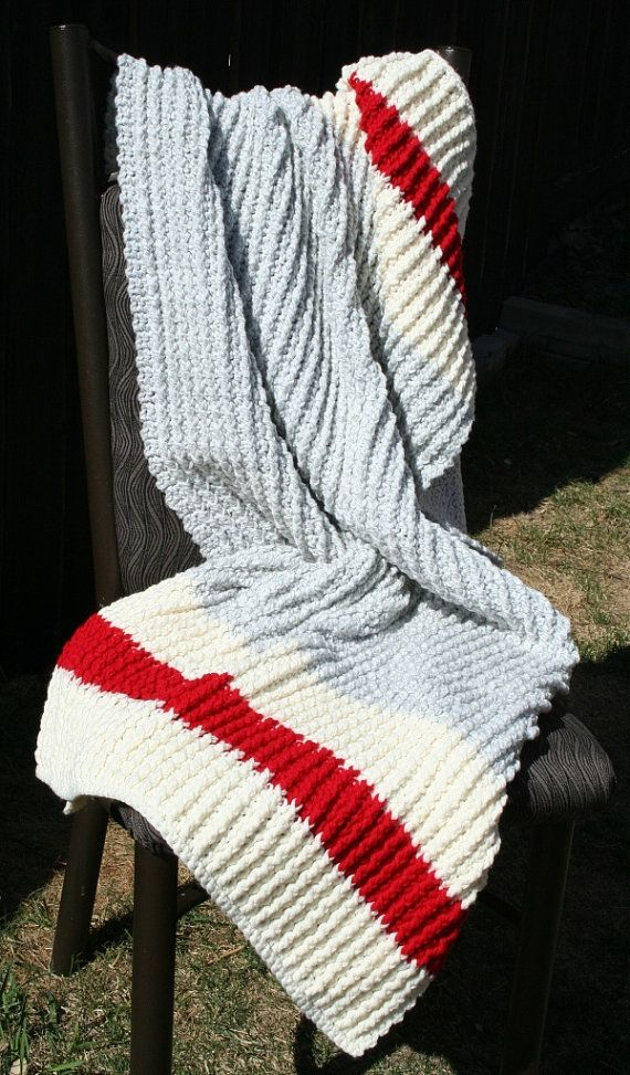 Crochet Grey Cream and Red Sock Monkey Baby Crib Blanket by JennisCrochet