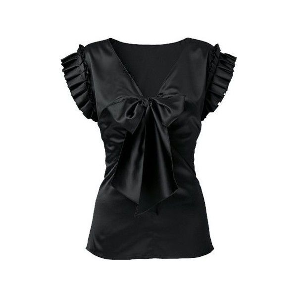 Satin Frill Sleeve Top ($26) ❤ liked on Polyvore featuring tops, blouses, shirts, blusas, black, going out tops, satin blouse, black satin shirt, shirts & tops and black top