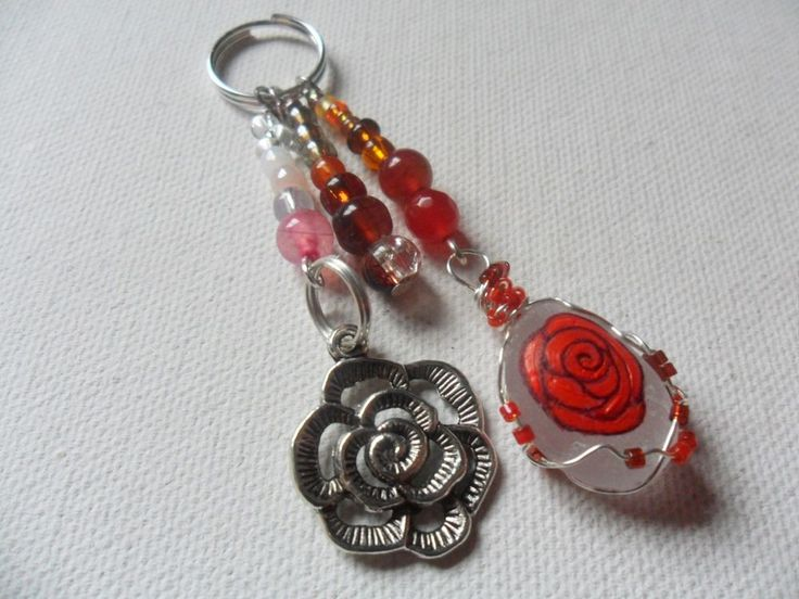 Red rose Valentine bag charm/zip pull hand painted art