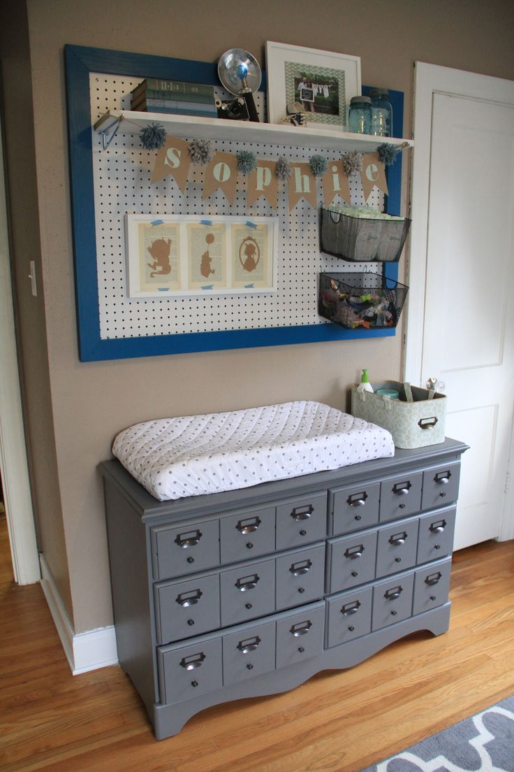 Diy Card Catalogue Changing Table And Framed Peg Board My