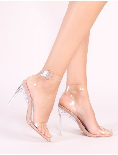 2a8afe838c6 Slice Strappy Perspex High Heels in Nude in 2019