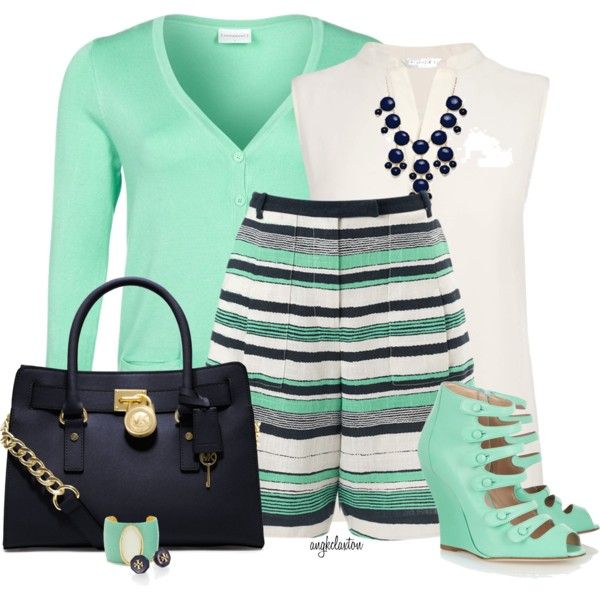 """Navy and Mint"" by angkclaxton on Polyvore"