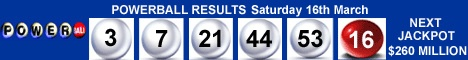 US Powerball Results Saturday 16th March 2013
