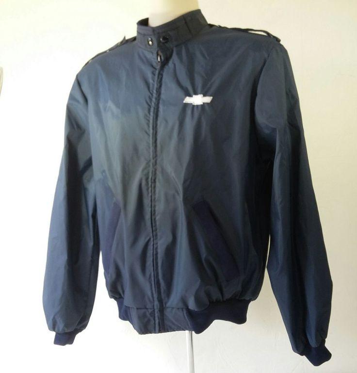 Chevy Chevrolet Mens Medium Jacket Embroidered Nylon Navy Blue Windbreaker VTG  | eBay