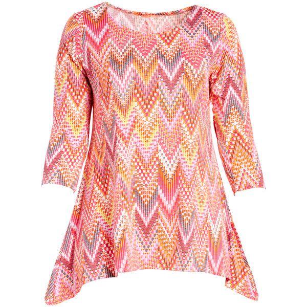 GLAM Pink & Yellow Chevron Sidetail Tunic ($14) ❤ liked on Polyvore featuring plus size women's fashion, plus size clothing, plus size tops, plus size tunics, plus size, red tunic, pink top, pink tunic and yellow tunics