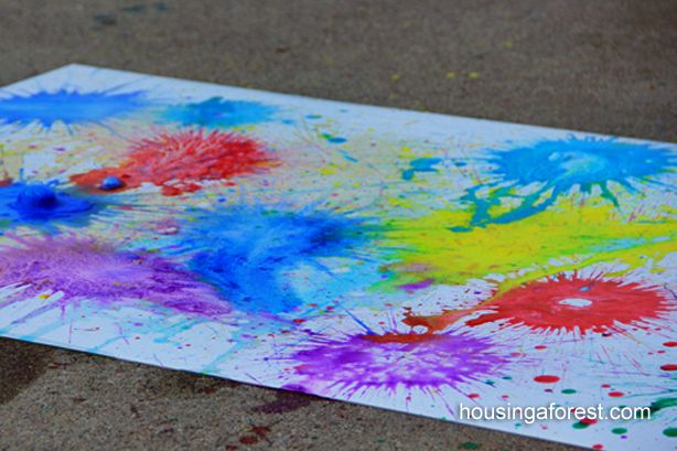 Exploding Art    Pour about a tablespoon of watered down tempera paint into your film canister.     Break the Alka Seltzer tablets into half.    Quickly drop 1/2 a tablet into the paint, tightly put on the lid and give it a quick shake.    Quickly place paint filled canister lid side down on your paper and stand back.