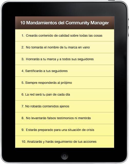 Los 10 mandamientos del Community Manager. #infografia http://bit.ly/1Q1KpIU