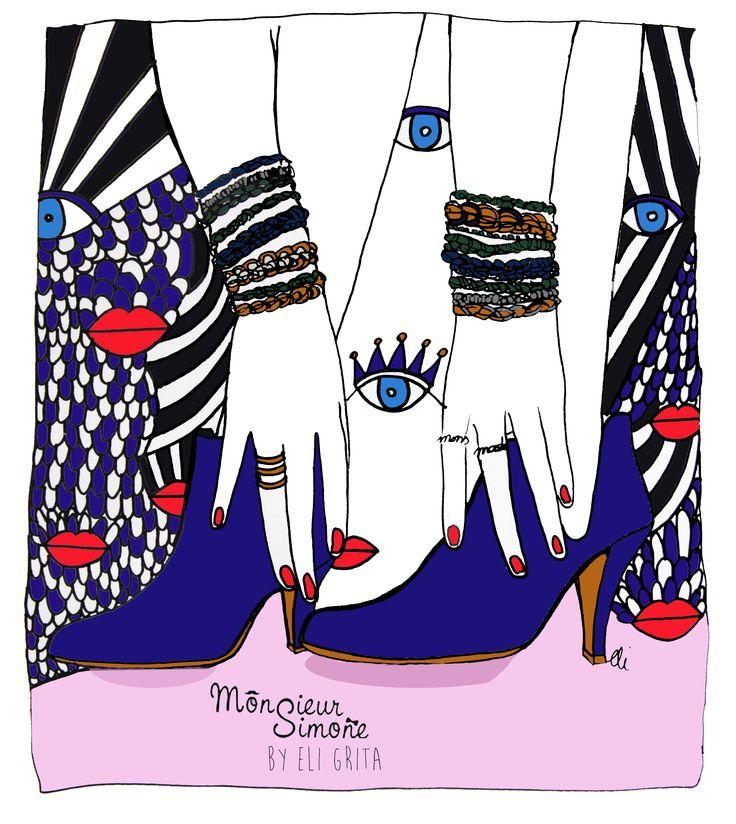 #PATRICIABLANCHET #BOOTS #EYES #ILLUSTRATIONS #ELIGRITA #WOMAN  #MONSIEURSIMONE