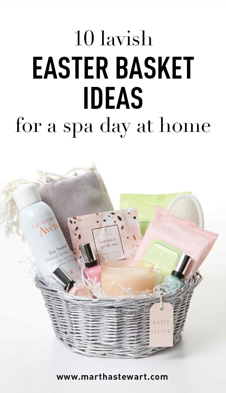 10 Lavish Easter Basket Ideas for a Spa Day at Home | Martha Stewart Living - This Easter, skip the spa certificate and give a beautiful basket that's filled to the brim with luxe bath and beauty products. Everyone loves a little indulgence, especially at home.