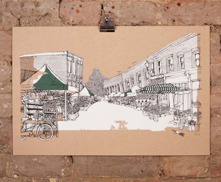 'Columbia Road -Brown' by Jo Peel, £85. Available here: http://www.nellyduff.com/gallery/jo-peel/columbia-rd-brown  #london #illustration #JoPeel #flowermarket #ColumbiaRoad