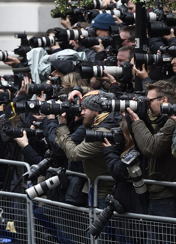 Photographers in the press pen as Prime Minster David Cameron welcomes US President Barack Obama to Downing Street