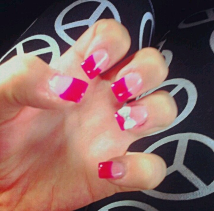 Hot pink acrylic tips with 3-D bow
