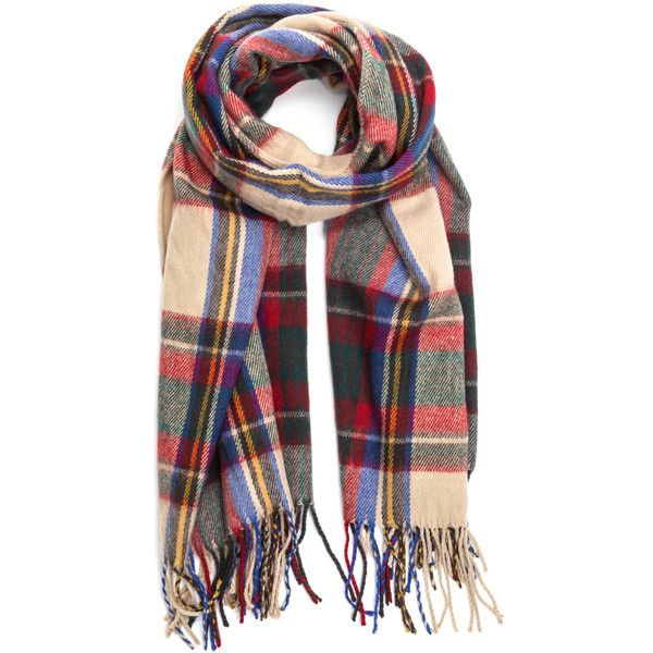 Plaid Play Woven Tartan Scarf ❤ liked on Polyvore featuring accessories, scarves, braided scarves, tartan plaid scarves, plaid shawl, woven shawl and woven scarves