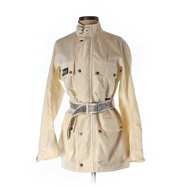 Pre-owned Belstaff Jacket Size 4: Ivory Women's Jackets & Outerwear ($73) ❤ liked on Polyvore featuring outerwear, jackets, ivory, belstaff jacket, ivory jacket, brown jacket, belstaff and white winter jacket
