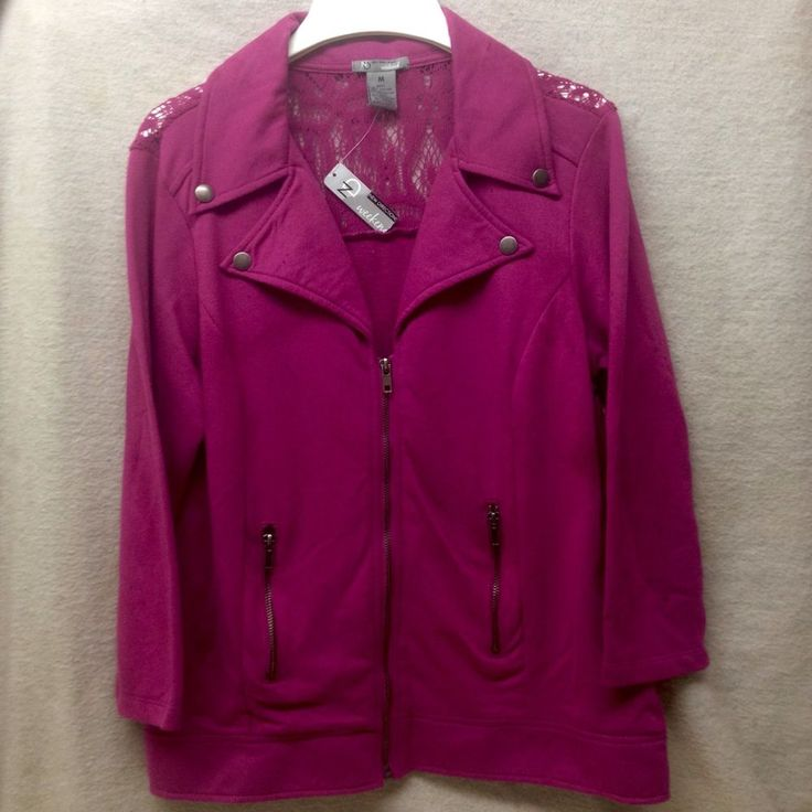 Womens Pink zip up Dressy Jacket by New Direction, Medium, NWT #NewDirection #DressShirtJacket