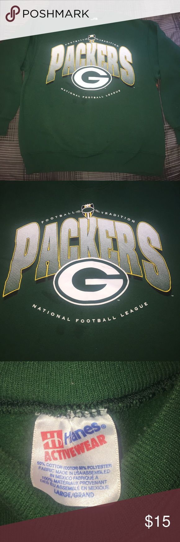 """Green Bay Packers Sweatshirt Great for any NFL fan. great condition with some blemishes and few stains that can probably be removed but still great overall. Measurements armpit to armpit 21 1/2""""inches. Top to bottom from front of collar 23 3/4"""" inches. Hanes Activewear Sweaters Crewneck"""
