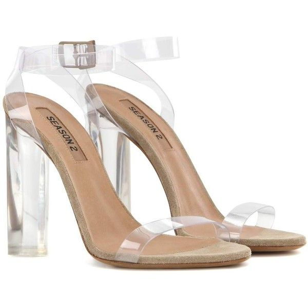 Yeezy Transparent Sandals (Season 2) ($550) ❤ liked on Polyvore featuring shoes, sandals, heel sandal, yeezy, adidas originals shoes, heeled sandals, adidas originals, transparent shoes and see-through shoes