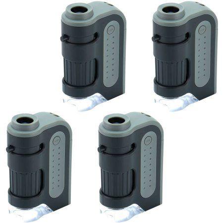4pk Carson MM-300 Microbrite Plus 60x-120x LED Pocket Microscope, Black