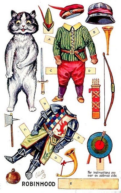 """""""Robin Hood"""" Paper Dolls - Louis Wain by docarelle (away for a while), via Flickr"""