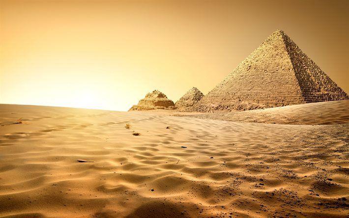 Scarica sfondi Piramidi di Egitto, il Cairo, deserto, sabbia, tramonto, Africa