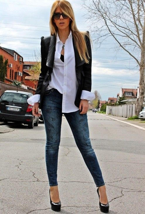 If only I could wear jeans to work; love the look: 38 Stylish Work Clothes � Office Fashion