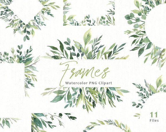 Watercolor Greenery Frames Borders Png Clipart Green Leaves Etsy Clip Art Floral Watercolor Watercolor Clipart
