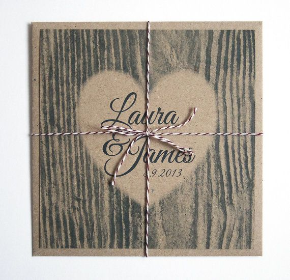 Carved Heart Wedding Invitation Rustic Eco by STNstationery, £2.00