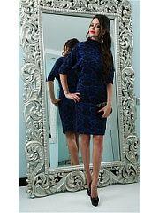 Платье длины миди с рукавом летучая мышь. Любимое платье в новом исполнении. Детали: рукав летучая мышь и пышная юбка цвета индиго. Верх исполнен из приятной на ощупь плательной ткани с принтом пейсли. Женственный наряд для холодного сезона. Материал верха: 70% хлопок, 25% полиэстер, 5% эластан Материал юбки: 90% полиэстер, 10% эластан