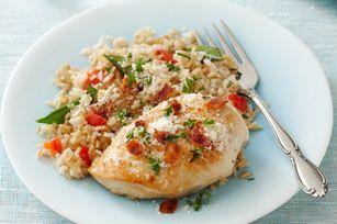Pilaf de arroz integral con pollo