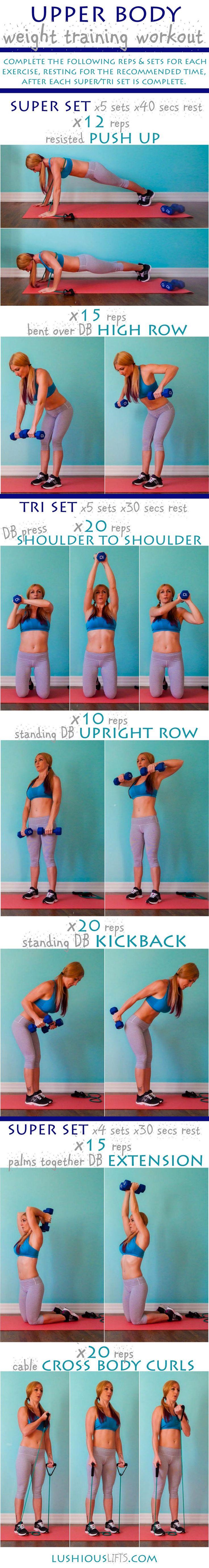Upper Body Weight Training Workout    lushiousLIFTS.com
