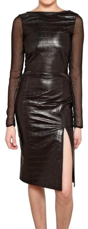 Emilio Pucci Printed Crocodile Leather with Silk Chiffon Dress in Black