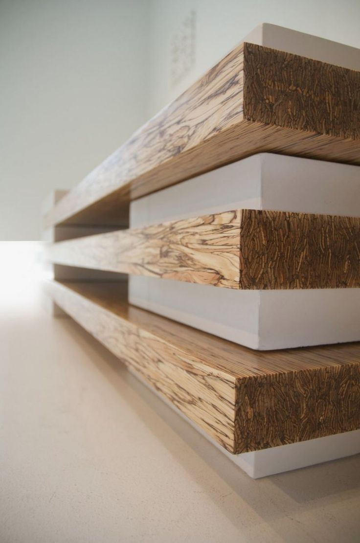 detail of Contemporary Bench in Concrete and Wood Combination