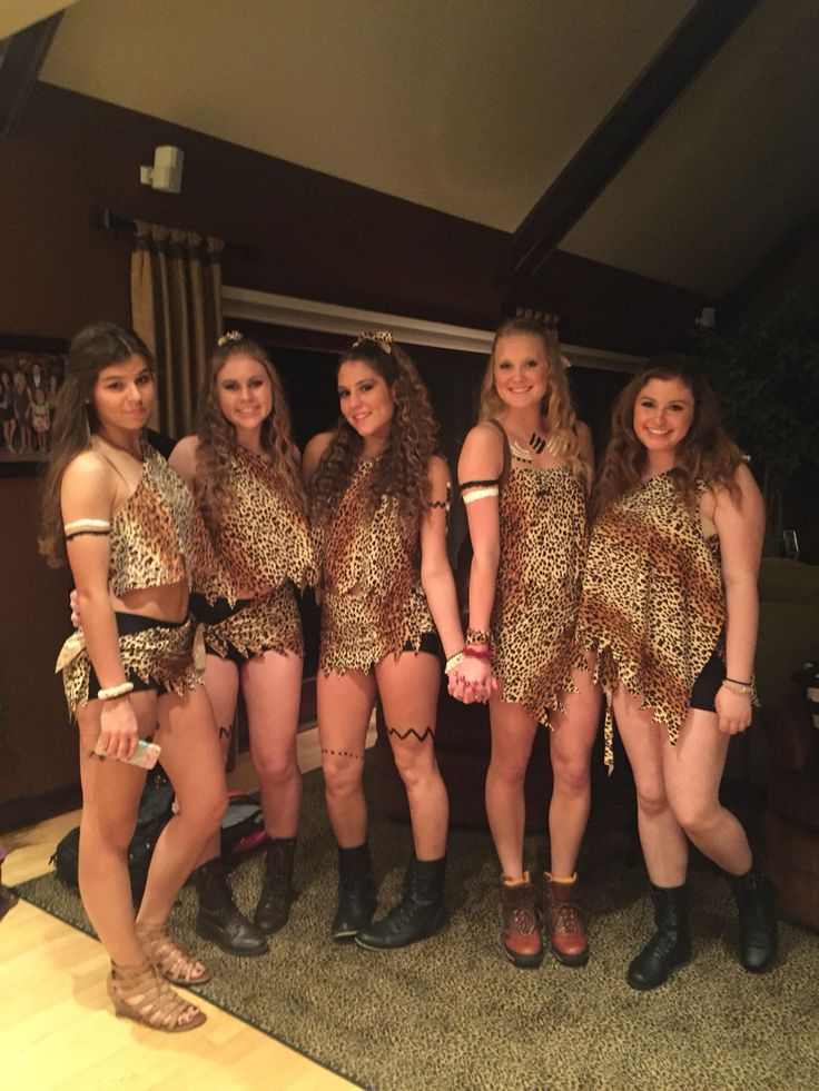 cave women halloween group costume - Homemade Halloween Costumes College Girls