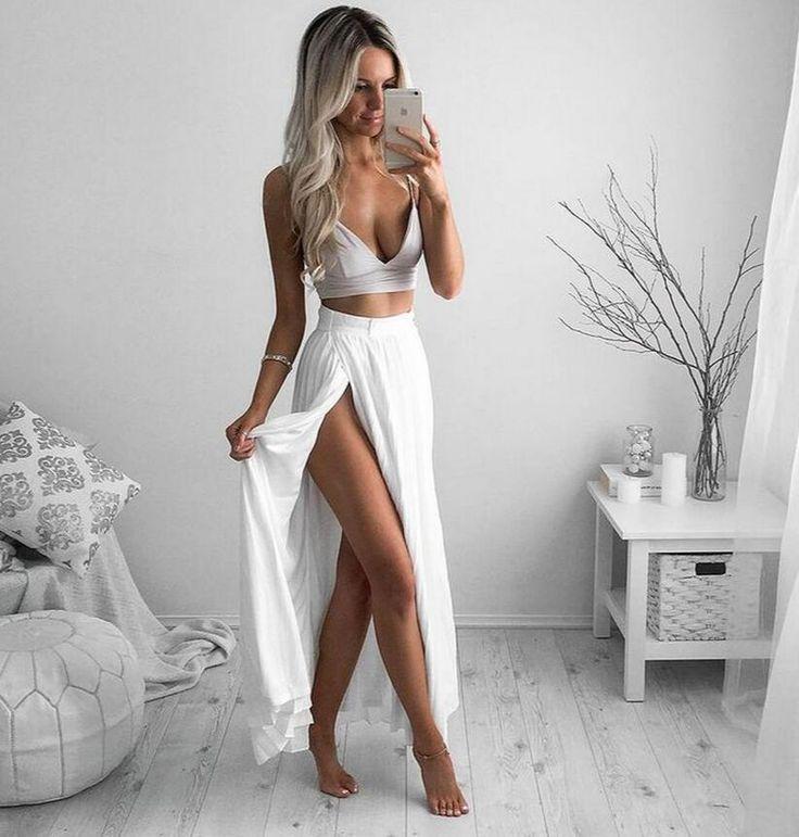 Two Piece White Spaghetti Strap Prom Dress, Slit Side Chiffon Ball Dresses ,White Evening Dress, Chiffo Evening Dresses