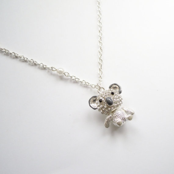 Silver necklace with cute koala bear pendant and pearl. $20.00, via Etsy.