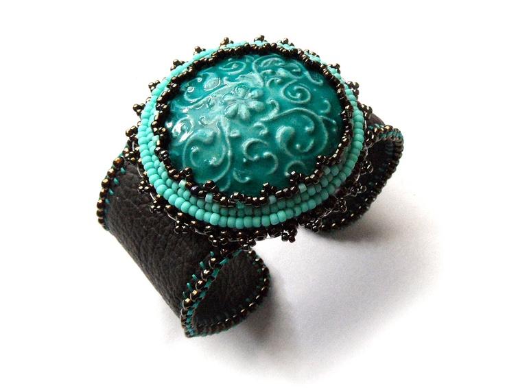 Turquoise leather cuff bracelet, bead embroidered, Iznik ceramic cabochon, arabesque.