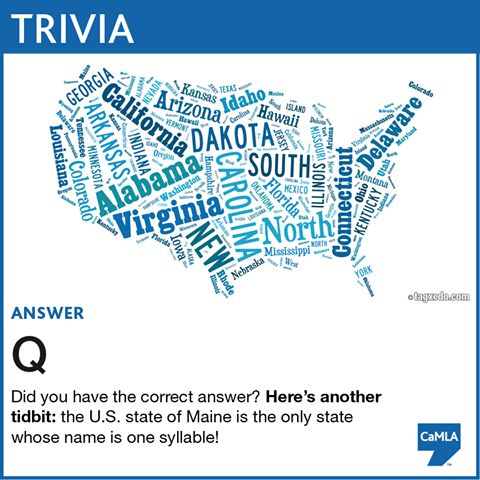 The trivia question was:  Which letter in the English alphabet doesn't appear in the names of any U.S. states?