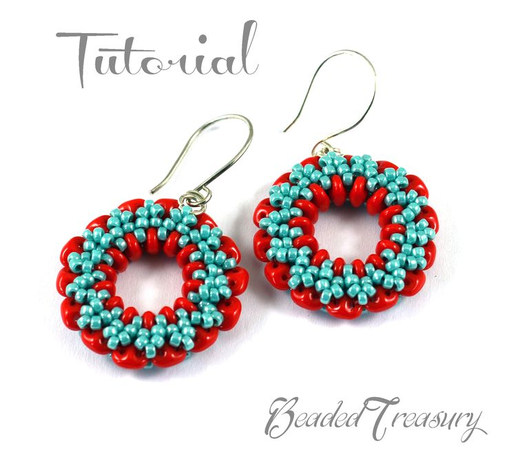 """""""Wheel of Time"""" - beaded earrings pattern, with two-hole SuperDuo beads and seed beads 11/0 /  by BeadedTreasury."""