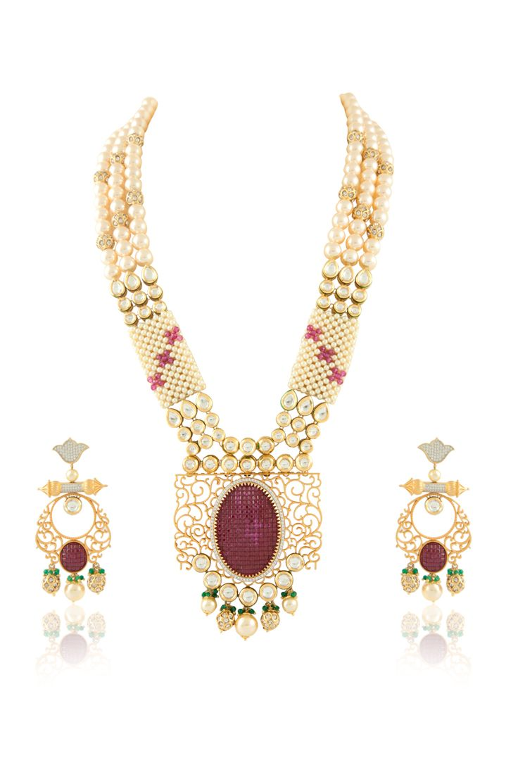 Vilandi with american diamonds set, ruby stone and ruby beads studed in micropave setting with pearl mala. Item number J15-219