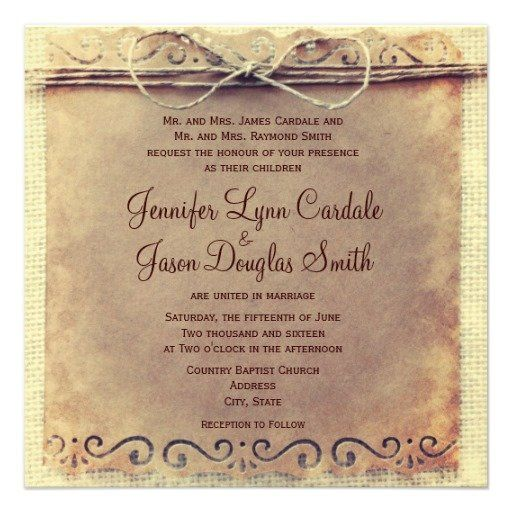 Rustic Country Distressed Vintage Wedding Invitations #rustic #wedding #country