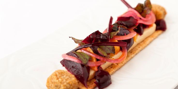 This deconstructed beetroot tart recipe from chef Kevin Mangeolles of The Neptune, is served with delicious Binham blue cheese beignets